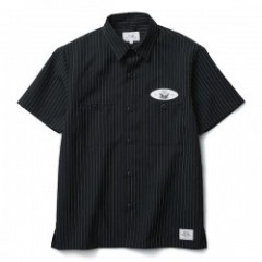 "CRIMIE S/Sシャツ ""STRIPE WORK S/S SHIRT"" (Black)"