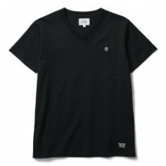 "★30%OFF★ CRIMIE Tシャツ ""CR NEEDLE WORK V NECK POCKET TEE"" Blk"