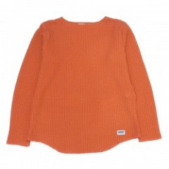 "RADIALL ""BIG WAFFLE BOAT NECK T-SHIRT L/S"" Orange"