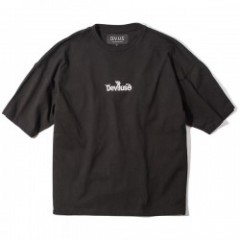 "Deviluse Tシャツ ""LOGO EMBROIDERED BIG TEE"" (Black)"