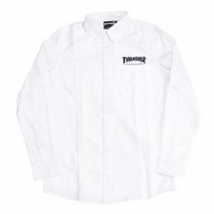 "THRASHER L/Sシャツ ""MAG L/S B.D. OXFORD SHIRT"" White"