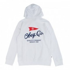 "OBEY パーカ ""NAUTICAL FLAG PULLOVER PARKA"" (White)"