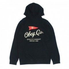 "★30%OFF★ OBEY ""NAUTICAL FLAG PULLOVER PARKA"" Black"