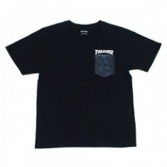 "THRASHER ポケットTシャツ ""HOMETOWN CAMO POCKET TEE"" (Black/Charcoal)"