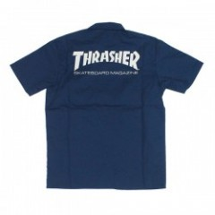 "THRASHER S/Sシャツ ""MAG S/S WORK SHIRT"" (Blue)"