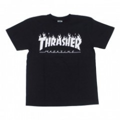 "THRASHER Tシャツ ""FLAME LOGO TEE"" (Black/White)"