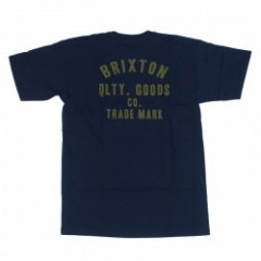 "BRIXTON Tシャツ ""WOODBURN S/S STND TEE"" (Navy/Gold)"