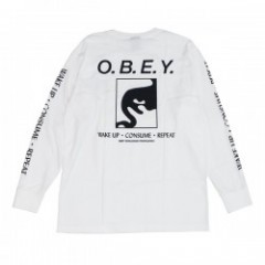 "OBEY L/STシャツ ""WAKE UP CONSUME REPEAT"" (White)"