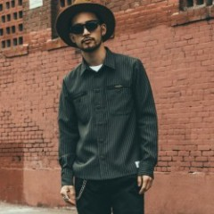 "CRIMIE L/Sシャツ ""STRIPE WORK SHIRT"" (Gray)"