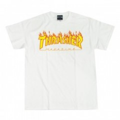 "THRASHER Tシャツ ""FLAME 3C TEE"" (White)"