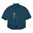 "range S/Sシャツ ""RG STRIPE OVER SIZE SHIRTS"" (Navy/Green)"