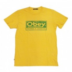 "OBEY Tシャツ ""OBEY RECORDS & CASSETTES TEE"" (Yellow)"