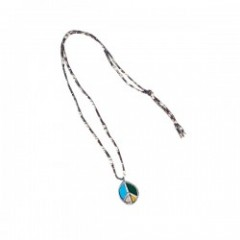 "RADIALL ""PEACE SYMBOL STAINED G. NECKLACE"" Grn/Blu"