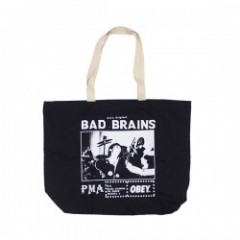 "OBEY トートバッグ ""BAD BRAINS PMA PHOTO TOTE BAG"" (Black"