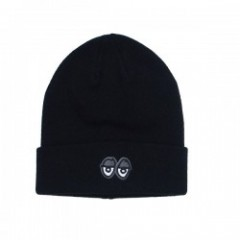 "KROOKED ビーニー ""EYES EMB CUFF BEANIE"" (Black/Charcoal)"