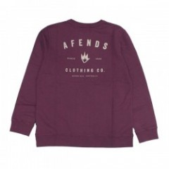 "AFENDS クルースウェット ""CLOTHING CO. CREW SWEAT"" (Ox Blood)"