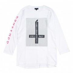 "Deviluse L/STシャツ ""GOD'S BUSY L/S TEE"" (White)"