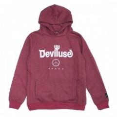 "Deviluse パーカ ""LOGO PEACE PULLOVER HOODED"" (Red)"