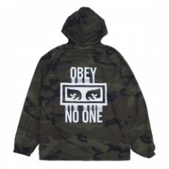 "OBEY ジャケット ""NO ONE HOODED COACHES JACKET"" (Camo)"
