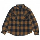 "BRIXTON シャツジャケット ""BOWERY LINED L/S FLANNEL"" (Navy / Copper)"