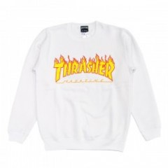 "THRASHER クルースウェット ""FLAME 3C CREW SWEAT"" (Wht/Yel)"