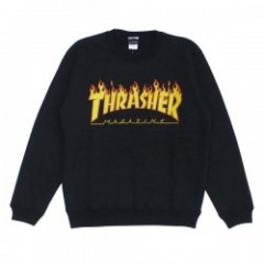 "THRASHER クルースウェット ""FLAME 3C CREW SWEAT"" (Blk/Yel)"