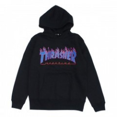 "THRASHER パーカ ""FLAME 3C PARKA"" (Black/Blue)"