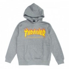 "THRASHER パーカ ""FLAME 3C PARKA"" (H.Gray/Yellow)"