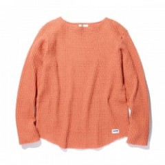 "RADIALL ワッフルL/S ""BIG WAFFLE BOAT NECK T-SHIRT L/S"" (Orange)"