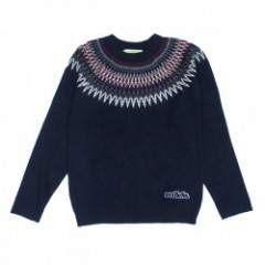 "seedleSs セーター ""SD NATIVE CREW NECK KNIT"" (Navy)"