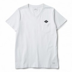 "CRIMIE Tシャツ ""V NECK LEATHER EMBLEM TEE"" (White)"