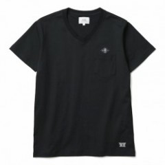 "CRIMIE Tシャツ ""V NECK LEATHER EMBLEM TEE"" (Black)"