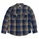 "BRIXTON × COORS L/Sシャツ ""BOWERY COORS II L/S FLANNEL"" (Navy Plaid)"