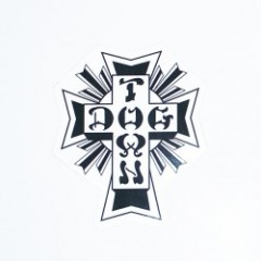 DOGTOWN ステッカー CROSS LOGO BLACK & WHITE STICKER M-4