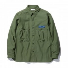 "RADIALL L/Sシャツ ""TRENCH REGULAR COLLARED SHIRT L/S"" (Olive)"