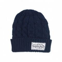 "seedleSs ビーニー ""SD CABLE KNIT BIANIE"" (Navy)"