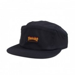 "THRASHER キャップ ""FLAME LOGO 5 PANEL CAP"" (Black)"