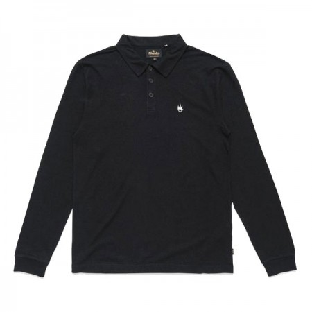 "★30%OFF★ AFENDS ポロシャツ ""HEMP FLAME LONG SLEEVE POLO"" (Black)"