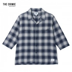 "CRIMIE 7分シャツ ""OMBRE CHECK 7TH SLEEVE SHIRT"" (Navy)"