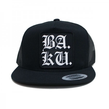 "BARRIER KULT ""BA.KU. STACKED ENGLISH LOGO MESH CAP"" (Black)"