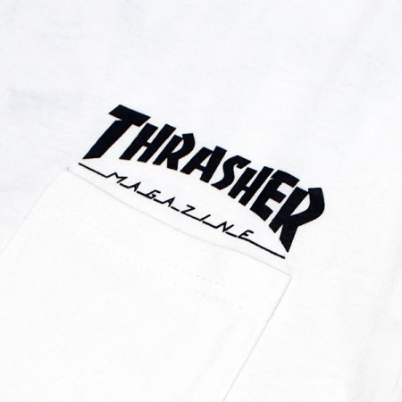 "THRASHER ポケットTシャツ ""HOMETOWN POCKET TEE"" (White)"