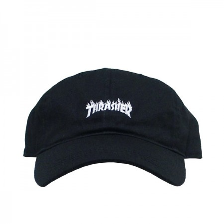 "THRASHER キャップ ""FLAME LOGO LOW CAP"" (Black)"