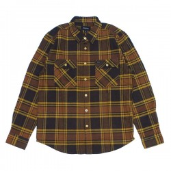 "BRIXTON L/Sシャツ ""BOWERY L/S FLANNEL"" (Black/Gold)"