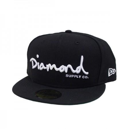 diamond supply co og script fitted cap black plugs