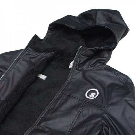 "seedleSs ジャケット ""SOFT FAKE LEATHER HOODY"" (Black)"