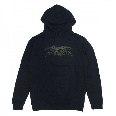 "ANTIHERO パーカ ""BASIC EAGLE HOODIE"" (Black/Army)"